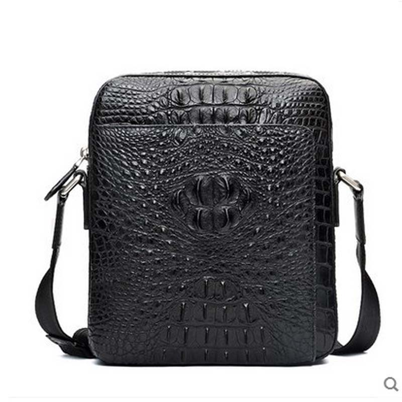 hlt Thai crocodile single shoulder men bag  authentic male zipper high-volume business high-end men inclined shoulder handbag tihinco new authentic crocodile handbag single shoulder bag leather male fashion business and leisure bag document package