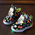 Girls Shoes Baby Fashion Mickey Mouse Led Shoes Kids Light Up Luminous Sneakers Little Girls Princess Children Shoes With Light