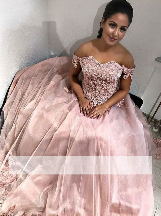 Puffy 2019 Cheap Quinceanera Dresses Ball Gown Off The Shoulder Tulle Appliques Lace Sweet 16 Dresses