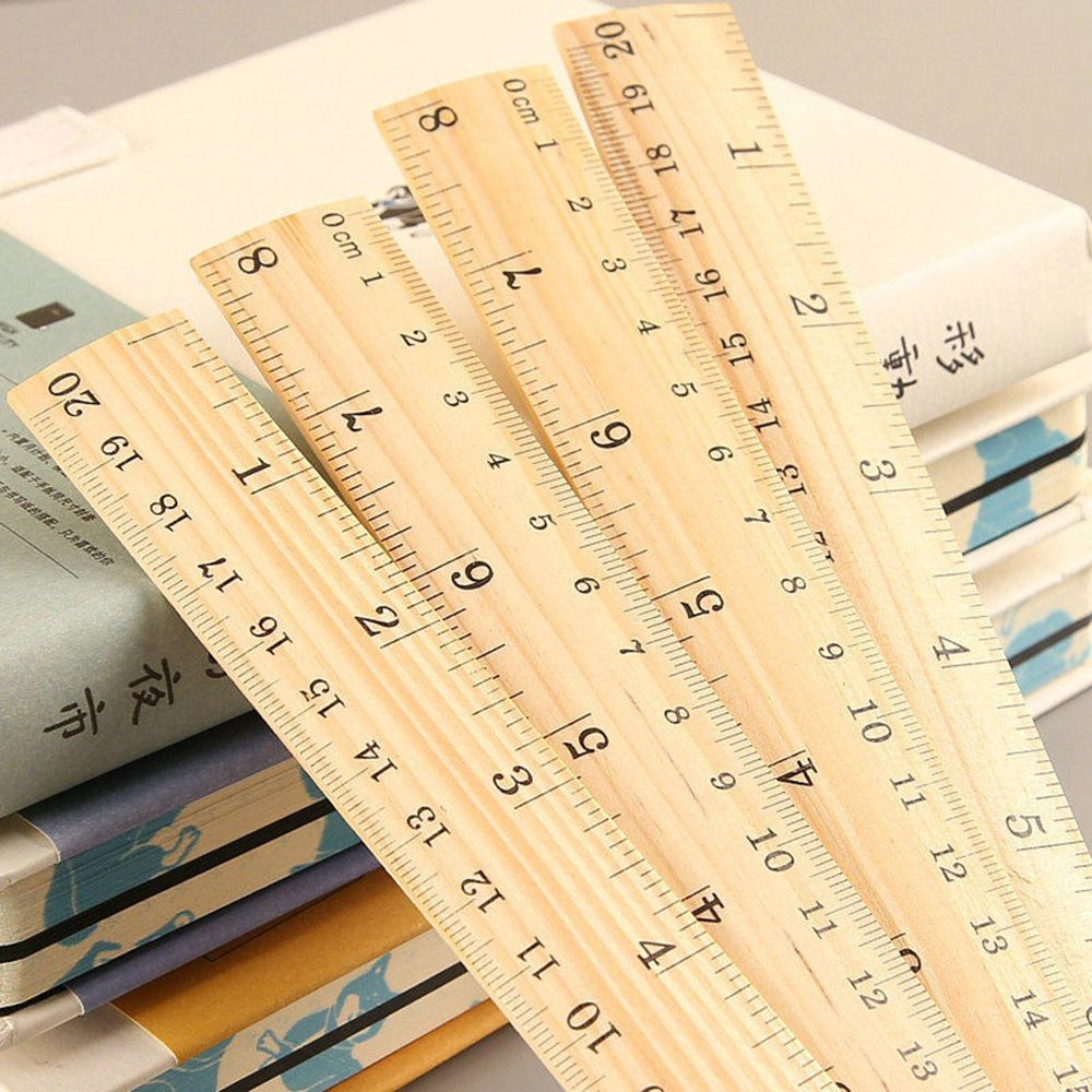 1 Pc 15cm 20cm 30cm Woode Straight Ruler Metric Rule Precision Double Sided Measuring Tool Learning Office Stationery