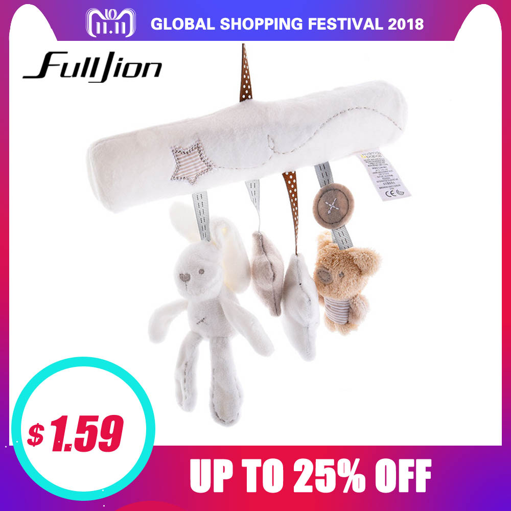 цена Fulljion Baby Rabbit Toys Stroller Accessories Hanging Plush Educational Toy Doll Trolley Bells Rattles Carriage Multifunctional