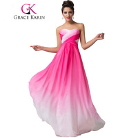 Grace Karin Summer Ombre Chiffon Bridesmaids Dress 2016 Sweetheart Strapless Cheap Bridesmaid Dress Under 50 Wedding