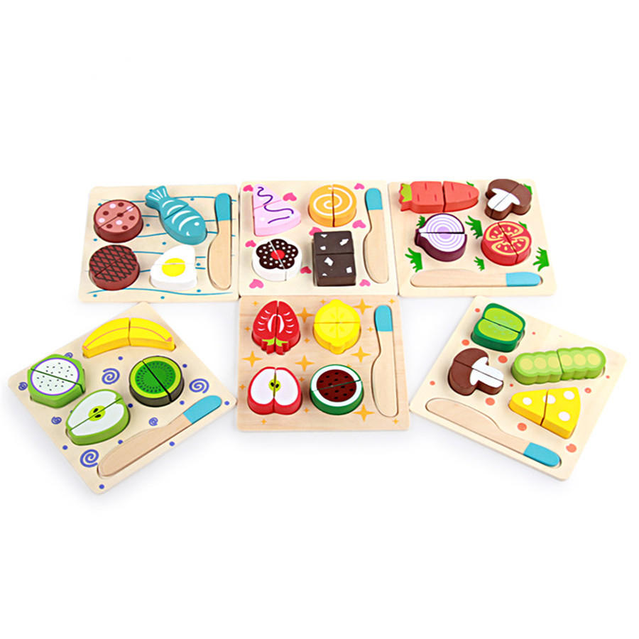 Children Wooden Classic toys Fruit Vegetable Kitchen Cutting Toys ...