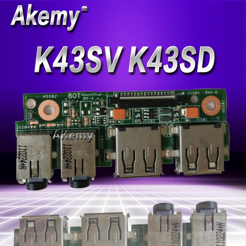 Akemy For ASUS K43 K43SV K43SD A43S X43S K43S K43SJ P43SJ K43E Laptop Audio USB 2.0 IO Board Interface Board JACK Board