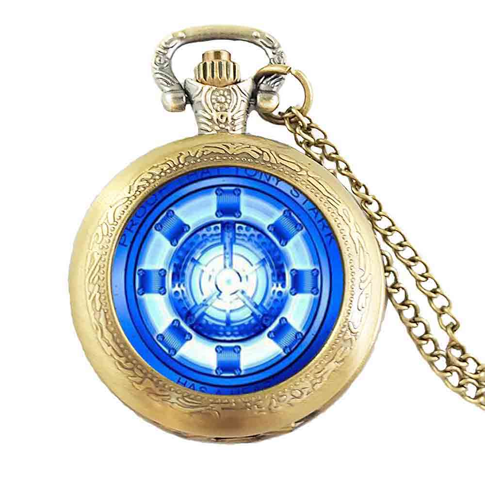 2017 Trendy Ir Man Arc Reactor Necklace Tony Stark pocket watch Round Jewelry Glass Dome Photo Necklaces Silver Chains