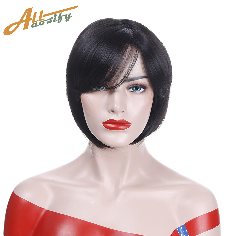 Allaosify Short Straight Black Wigs for Women Synthetic Heat Resistant Side Bangs Costum ...