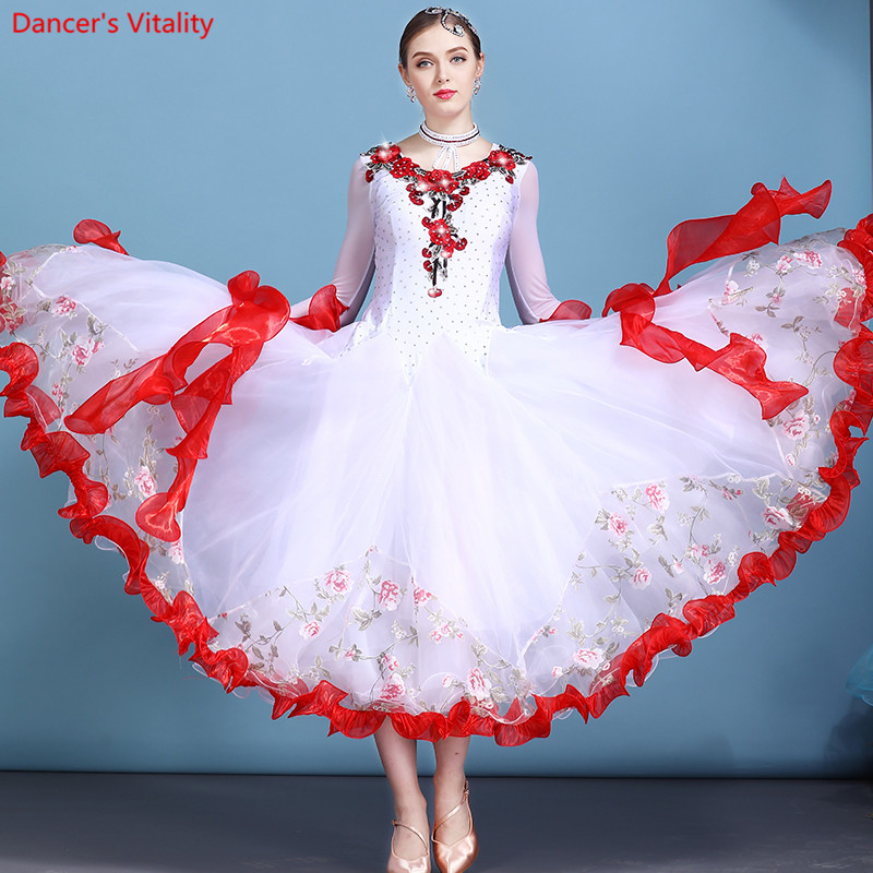 Professional Women s Ballroom Salsa Standard Waltz Flamenco Tango Competition Dress for Salsa Competition Costume