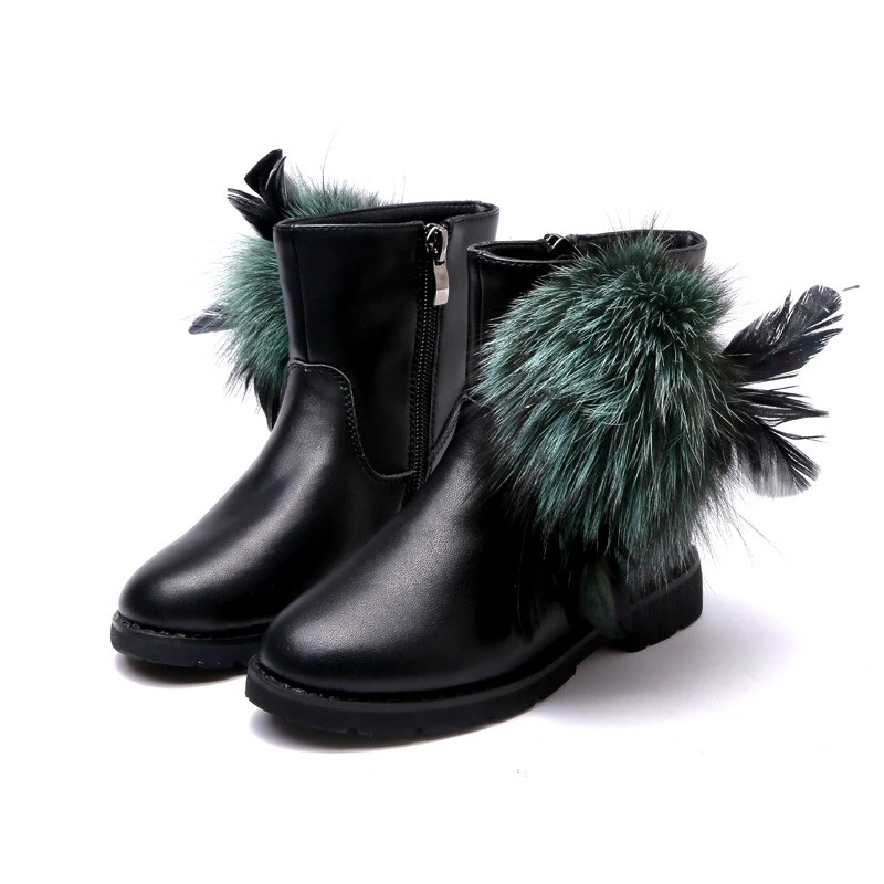 Children Boots Girls New Fashion High Feather Martin Boots Winter Autumn Kids Shoes Casual Baby Child Baby Shoes Free Shipping