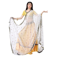 Stage Performance Women Belly Dance Clothes Indian Dance Hand embroidered Bollywood Costume 4pcs Set (Top+Belt+Skirt+Sari)