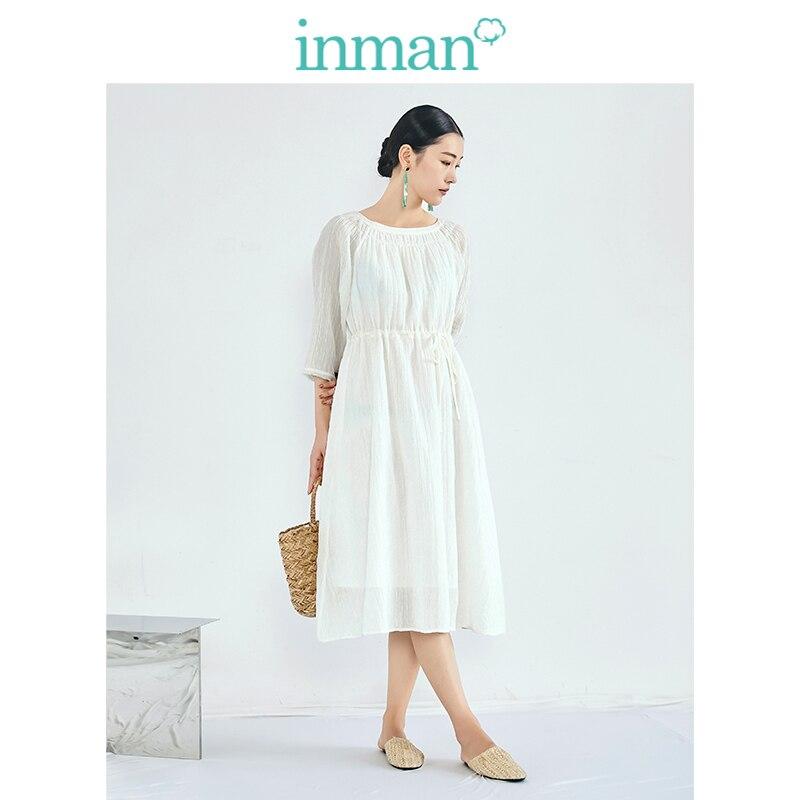 INMAN 2019 jesień New Arrival wyczyść pościel ramii bawełna solidna O neck zdefiniowane talii eleganckie wszystko dopasowane, linia, kobiety sukienka w Suknie od Odzież damska na  Grupa 1