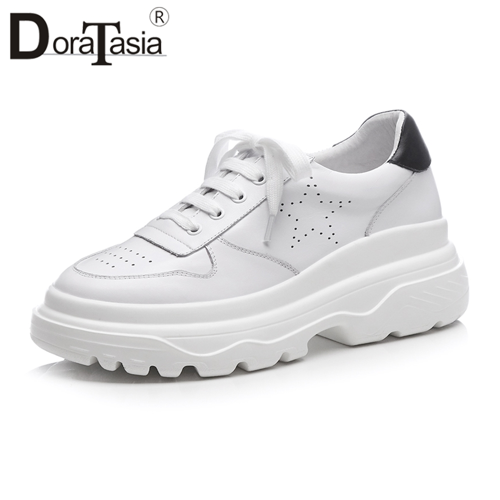Doratasia 2019 가을 신선한 흰색 플랫폼 스 니 커 즈 여성 정품 가죽 fretwork dady 신발 여성 레이스 업 캐주얼 플랫 신발-에서여성용 플랫부터 신발 의  그룹 1