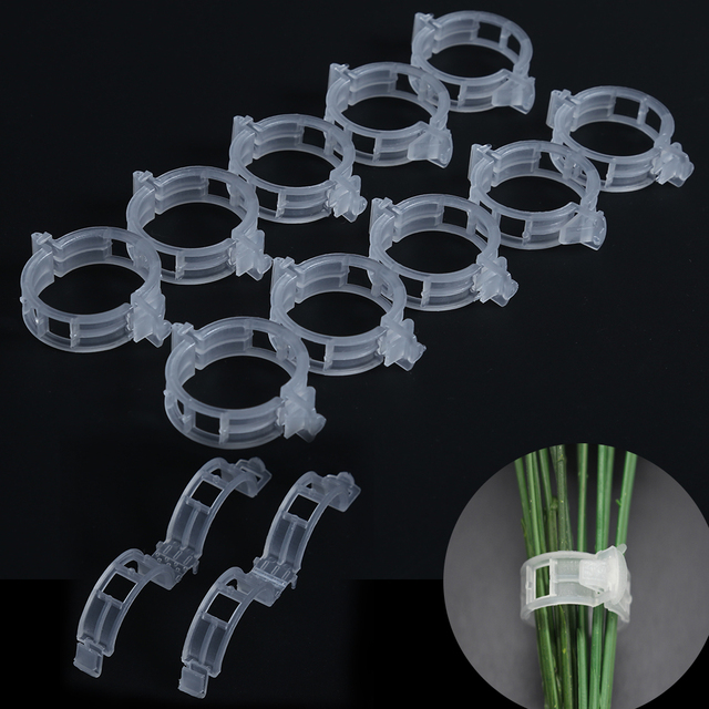 50 Trellis Tomato Clips Supports/Connects Plants/Vines Trellis/Twine/Cages Plant Vine Tomato Vegetable Fastening Clip Garden