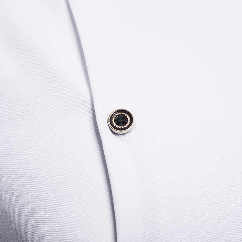 Черный Мандарин Воротник наклонная Кнопка рубашка мужская 2019 Новый Slim Fit с длинным рукавом смокинг платье рубашка мужская повседневная Свадебная сорочка Homme
