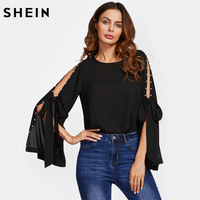 SHEIN Pearl Bow Tied Slit Flare Sleeve Top Black Split Sleeve Sexy Women Blouses Autumn Elegant