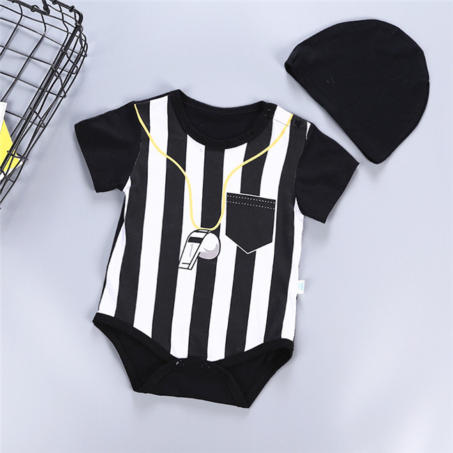 Newborn baby cotton rompers 2piece/set rompers with hat mini sport football jumpsuits short sleeve summer baby boy girl clothes