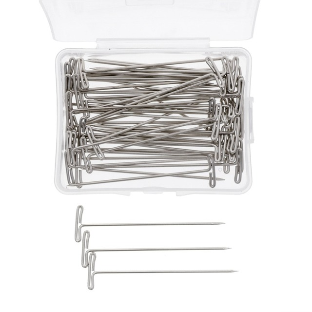 Aliexpress buy 50 piecesbox 53mm silver t shape needles pin 50 piecesbox 53mm silver t shape needles pin for wigs hair weaving tools salon pmusecretfo Choice Image