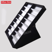 High Quliaty 16 Compartment Eyeglass Eyewear Sunglasses Storage Display Case Box Tray Display Holder