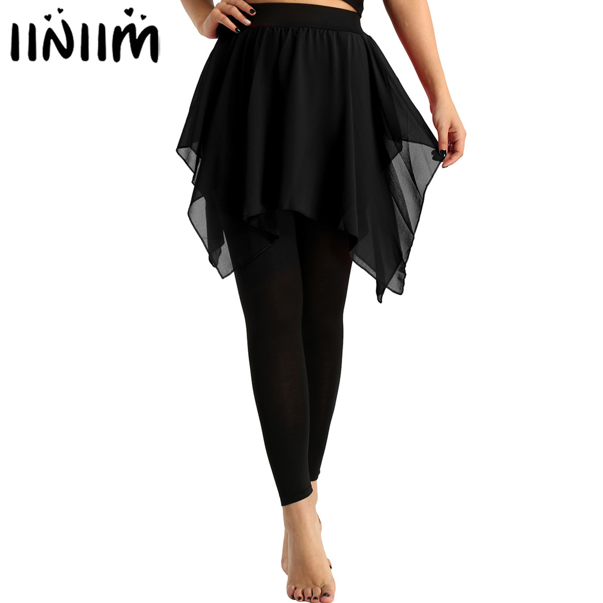 Womens Flowy Cropped Footless Leggings with Skirt Yoga Latin Pantskirt Adult Stage Performance Costume Ballerina Dance Pantskirt