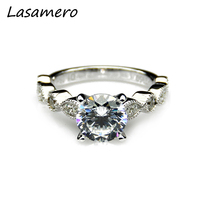 1 Carat Moissanites 14k White Gold Vintage Accents Engagement Ring Lab Grown Diamond Fine Jewelry Wedding Rings