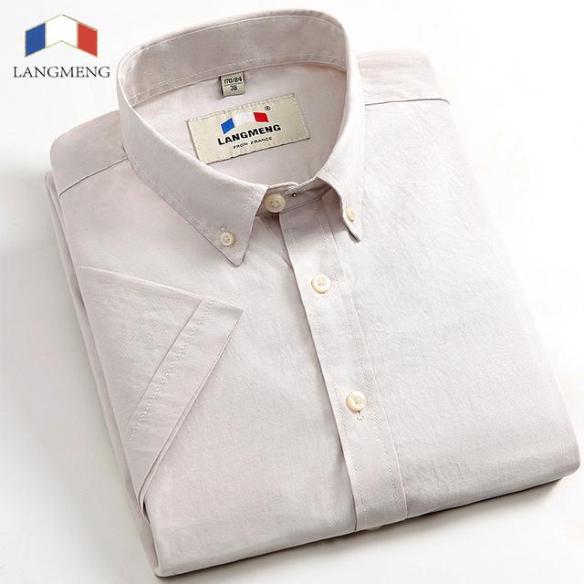 LANGMENG 2016 Marca 100% algodón de verano Nueva Moda Casual Male Oxford Camisa de Manga Corta Slim Fit Hombres Camisas de vestir camisa homme