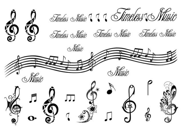 Impermeable Temporal Tatuaje Pegatinas Música Notas Inglés Letras