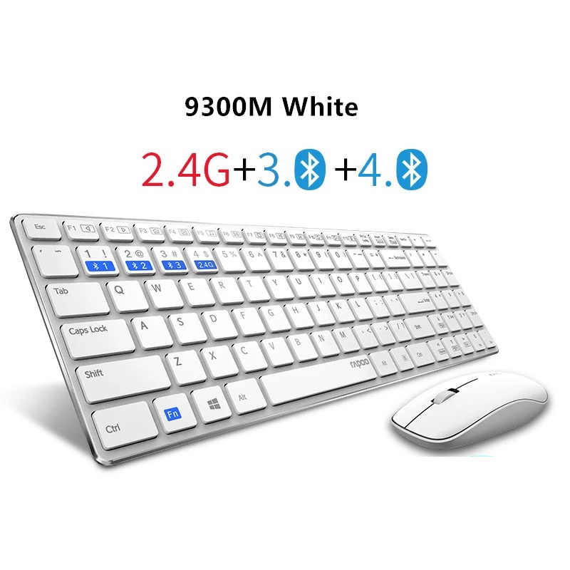 Nuevo Rapoo 9300 M multimodo silencioso inalámbrico teclado ratón Combos Bluetooth 3,0/4,0 RF 2,4G interruptor entre 3 dispositivos de conexión