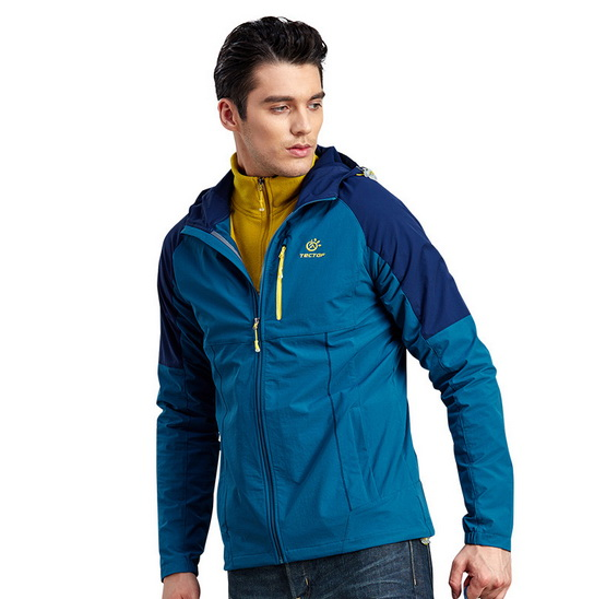 Men Hiking Jacket New Contrast Color Joining Together Quick drying Elastic Outdoor Jacket Camping Climbing Biking