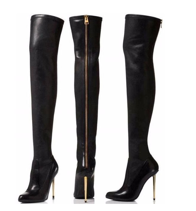 Thigh High Boots for Plus Size Women Metal Heels Over The Knee Boots Black Leather Women Winter Shoes Sexy Long Boots Drop Ship plus size patent leather over the knee boots for women black women winter boots sexy high heels long boots ladies platform shoes