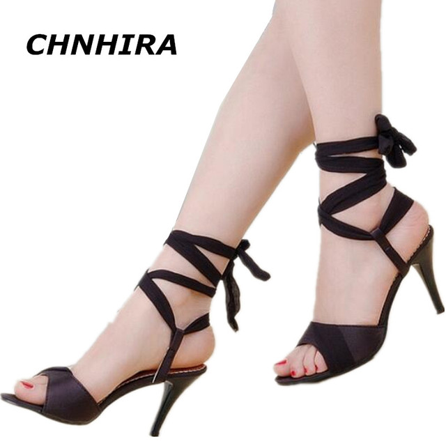 865cbe0d2442a CHNHIRA Summer Hot Sales Women Sandals Red Black Beige Blue Ladies Sexy  High Heel Shoes Cross Tied AHS-2 Plus Big Size 3143 HR85