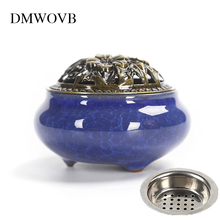 Ceramic Incense Burners Porcelain Holder Teahouse Ice Cracking Kiln Aromatherapy Furnace Home Decoration Send insulated iron