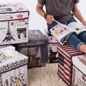 Image 5 - European style retro printing film covered receptacle stool receptacle box multi functional folding storage stool with cover for