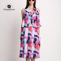 Maxi Long Dress Runway 2018 Summer Dress Women Silk Dress Vintage