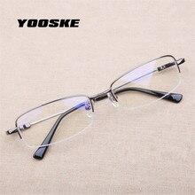 008eea0eb YOOSKE الأعمال الطلاب قصر النظر نظارات أزياء خفيفة الوزن معدن التيتانيوم  النظارات نصف إطار الذاكرة النظارات المواد