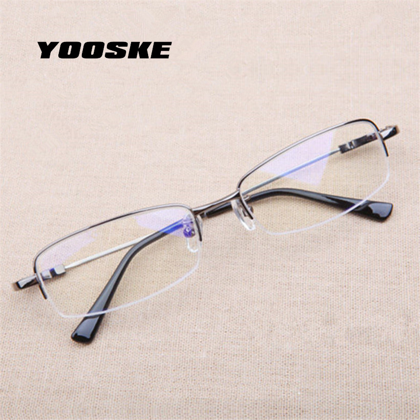 YOOSKE Business Students Myopia Glasses Fashion Lightweight Metal Titanium Glasses Half Frame Memory Material Eyeglasses