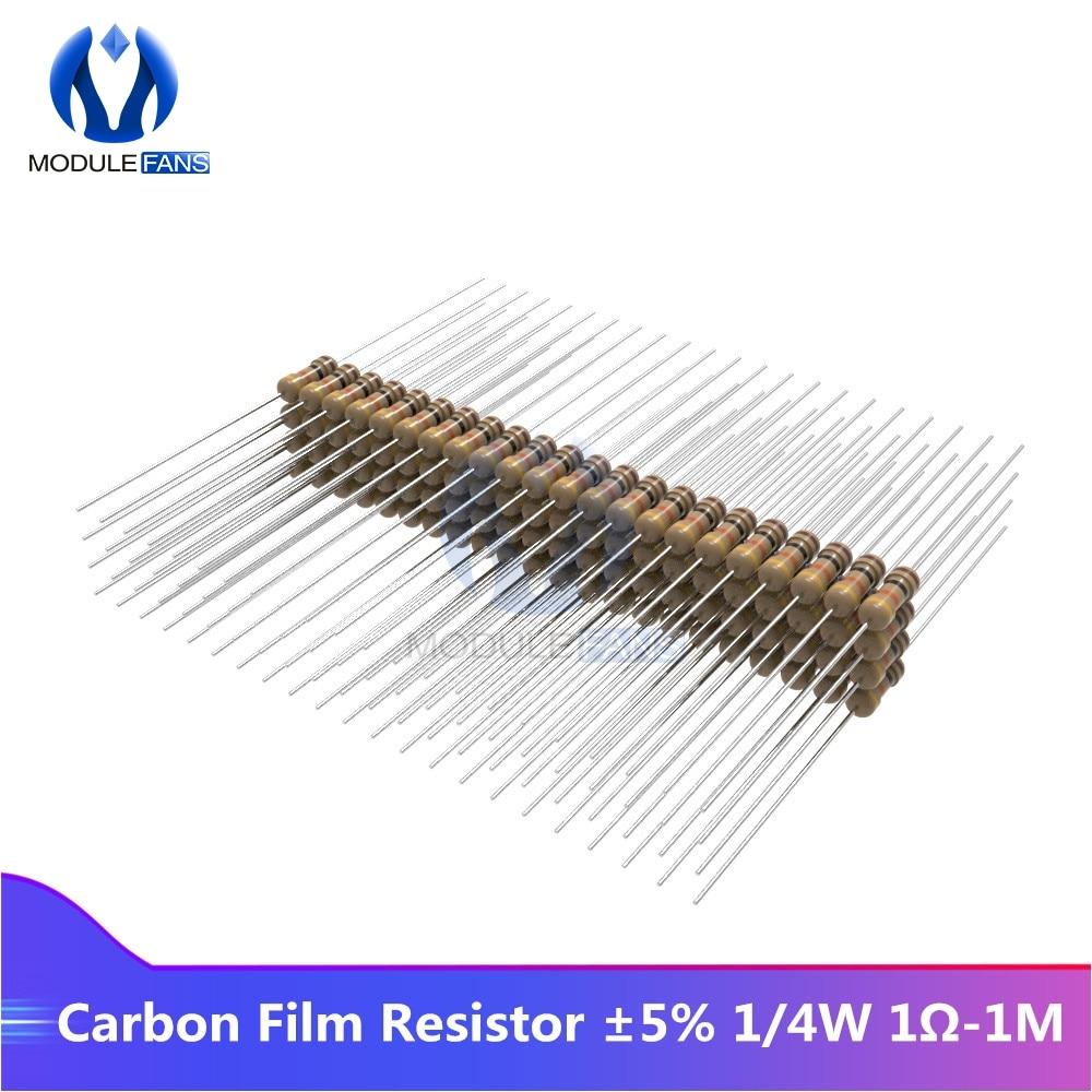 100 шт., карбоновый пленочный резистор 5% 1/4 Вт 0,25 Вт 1R-1M, Сопротивление ом 1K 2,2 K 4,7 K 5,1 K 6,8 K 10K 15K 22K 47K 1% + 1% -1%, сделай сам, электронный