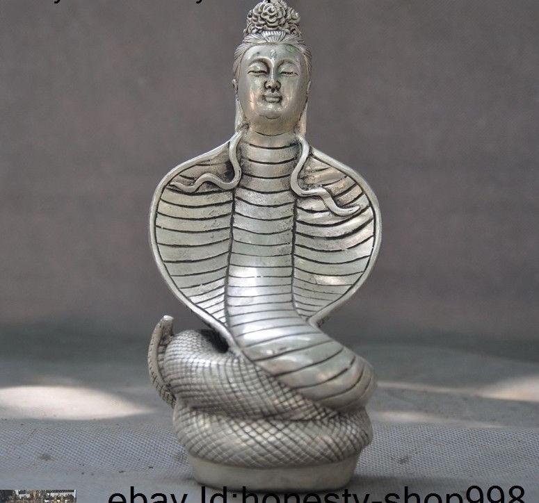 "7""old Tibet Tibetan silver Buddhism snake Naga Serpent Bodhisattva Buddha statue"