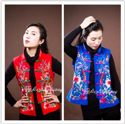 Embroidered ethnic vest Chinese traditional Cotton vest winter China collar image