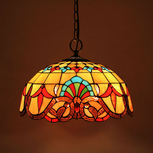 Stained Glass Suspended Luminaire Tiffany Baroque Pendant Lights For Home Parlor Dining Room Chain Lamps