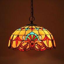 Lámparas colgantes de cadena E27 90-260V con vidriera suspendida de luminaria barroco de Tiffany para salón de casa comedor