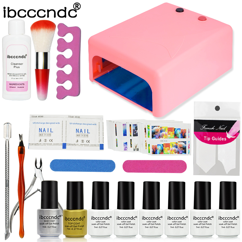 Ibcccndc Nail Art Set 36W UV Lamp 6 Color 7ml Soak off Nail Gel Base Top Coat Polish Remover Practice Manicure Tools File Kit pro nail art set manicure tools 36w uv lamp 10 color 7ml soak off gel nail base gel top coat polish remover false nail tips kit