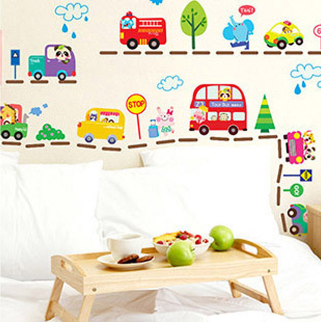 2016 Hot Sale Cute Cartoon Cars Traffic Wall Sticker Baby Boys Room Decorative Automobile Stickers Poster for Kids Rooms WT067
