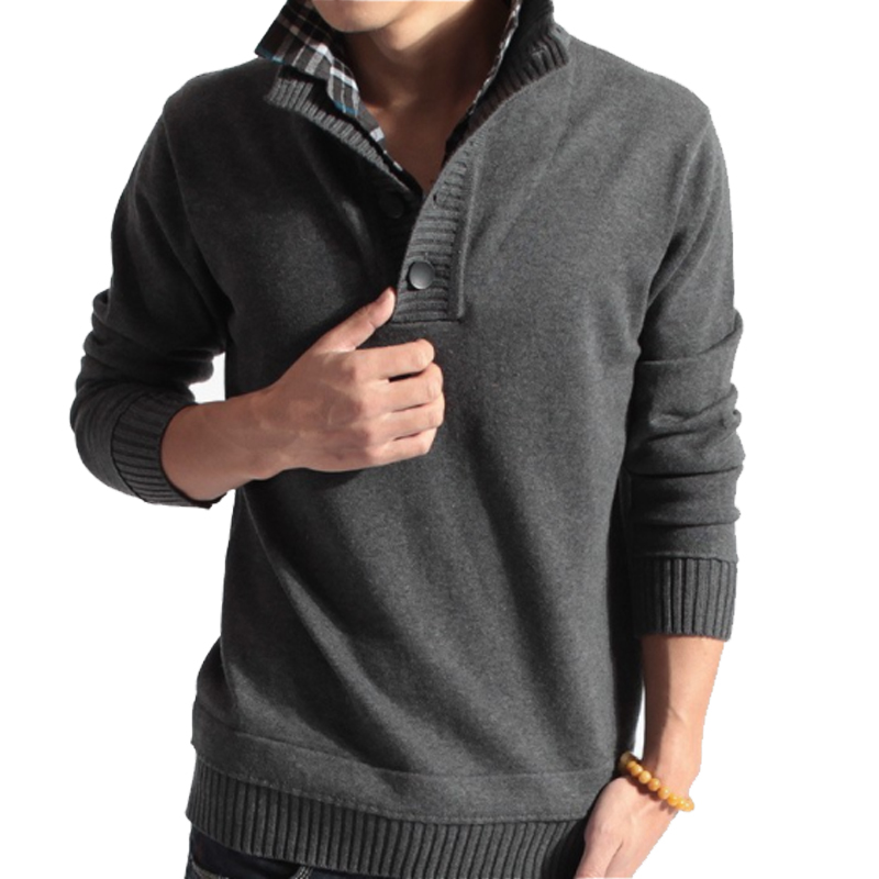 Sweater Pullover Men 2018 Male Brand Casual Slim Sweaters Men Fake Two Pieces Of Grid Solid Color Hedging MenS Sweater XXL