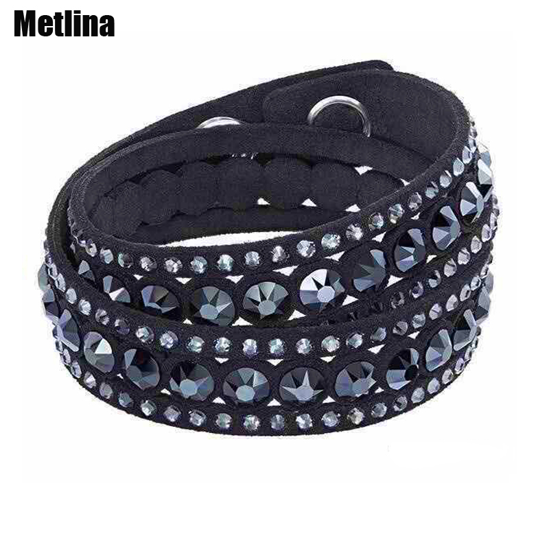 Bracelets: 2016 New arrival Fashion jewelry Leather Bracelet Wrap Multilayer Crystal Bracelet double twist charm women bracelet