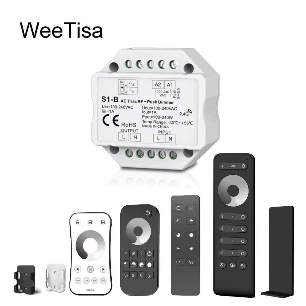 Светодиодный диммер 220 V 230 V 110 V AC Triac RF беспроводной 2,4G дистанционный кнопочный переключатель с регулировкой яркости контроллер для одного цвета светодиодный ламповый светильник