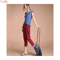 6XL plus size linen elastic draw string wasit harem pants lady slim summer thin casual trousers