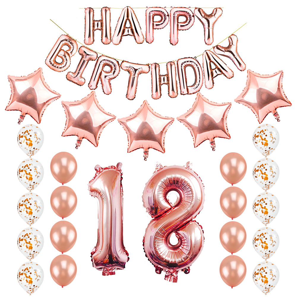 ZLJQ 10th 18th 30th 40th 50th Birthday Party Decorations Kit Rose Gold Happy Balloon Banner Confetti Latex Balloons