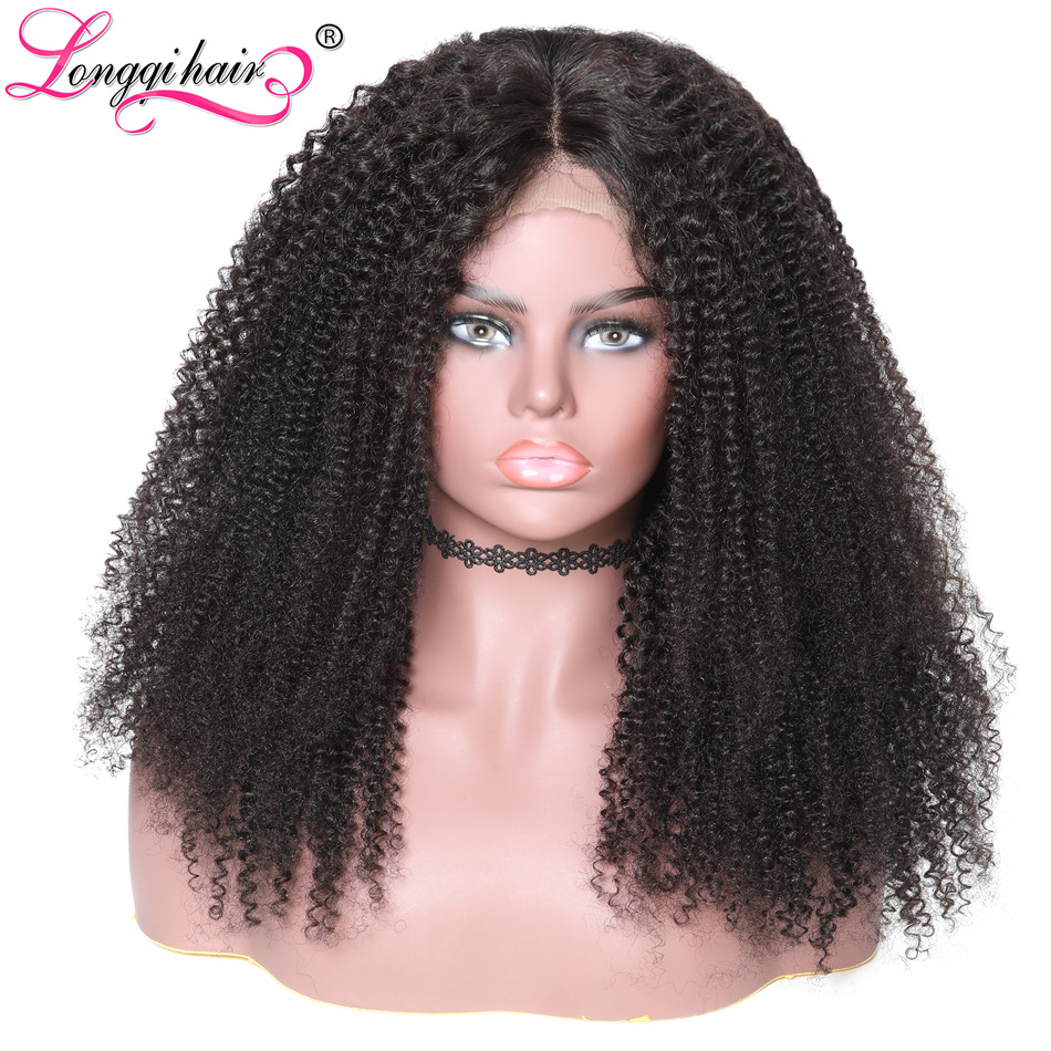 Longqi Hair Afro Kinky Curly Wig Human Hair Brazilian Remy 360 Lace Frontal Wig Pre Pulcked
