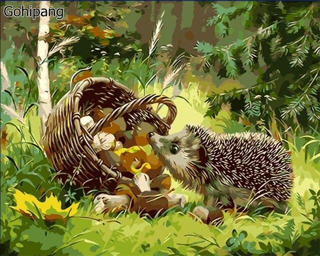Sans cadre Le Hérisson Animal DIY Peinture Par Numéros Kits Coloration Peinture À L'huile Sur toile de Dessin Maison des Motifs Mur Art Photo