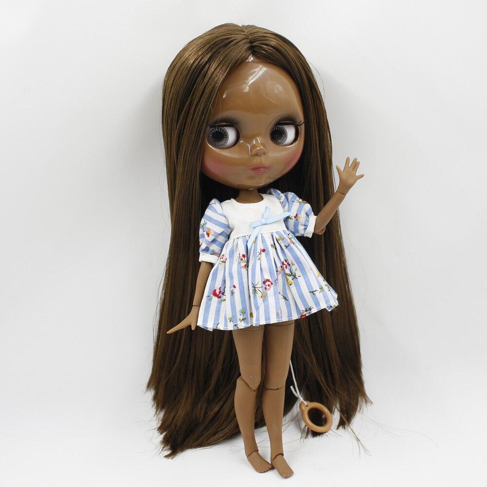 Nue Blyth poupée super noir Joint corps ton brun profond cheveux raides maquillage à réaliser soi-même 1/6 bjd blyth poupées pour les filles