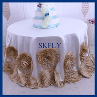 CL052P Gorgeous round flower fancy wedding ivory and champagne thick satin and taffeta cake rosette tablecloths